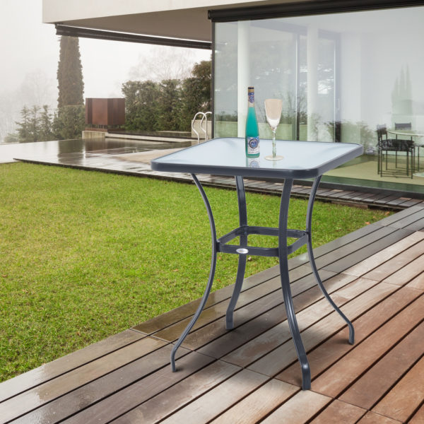 """Outsunny 34"""" Outdoor Glass Top Bistro Table"""