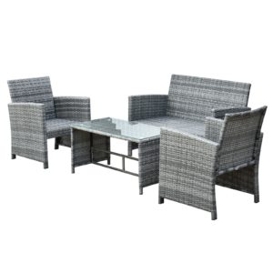 Outsunny 4-Piece Cushioned Outdoor Rattan Wicker Chair
