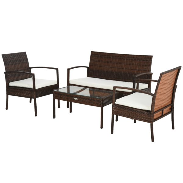 Outsunny 4 Piece Outdoor Patio Armchair and