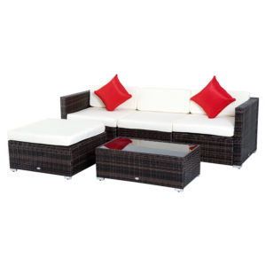 Outsunny 5-Piece Deluxe Outdoor Patio Rattan Furniture