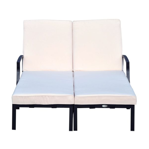 """Outsunny 74"""" Reclining Outdoor Double Lounge Chair"""