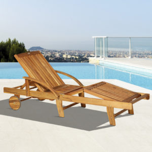Outsunny Acacia Wood Folding Patio Sun Lounger