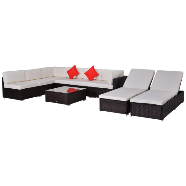Outsunny Coffee/Cream 9pc Outdoor Sofa Sectional/Chaise Set