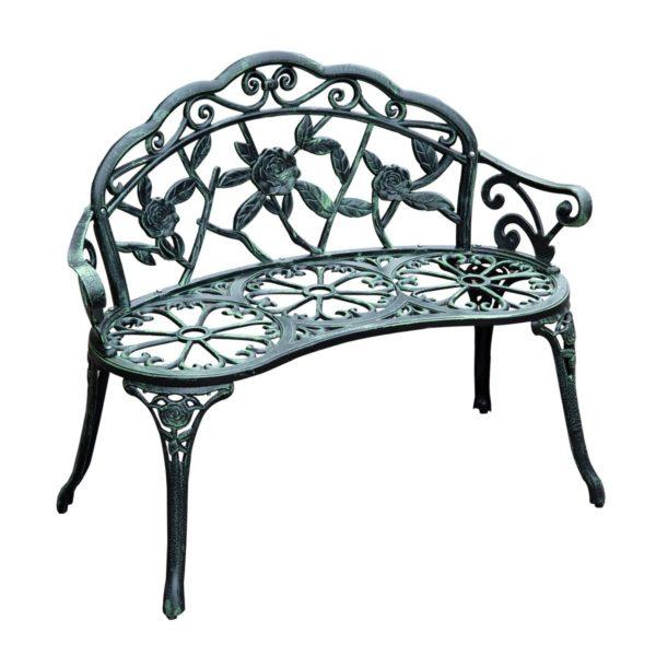 """Outsunny Metal Garden Bench 40"""" Antique Style"""