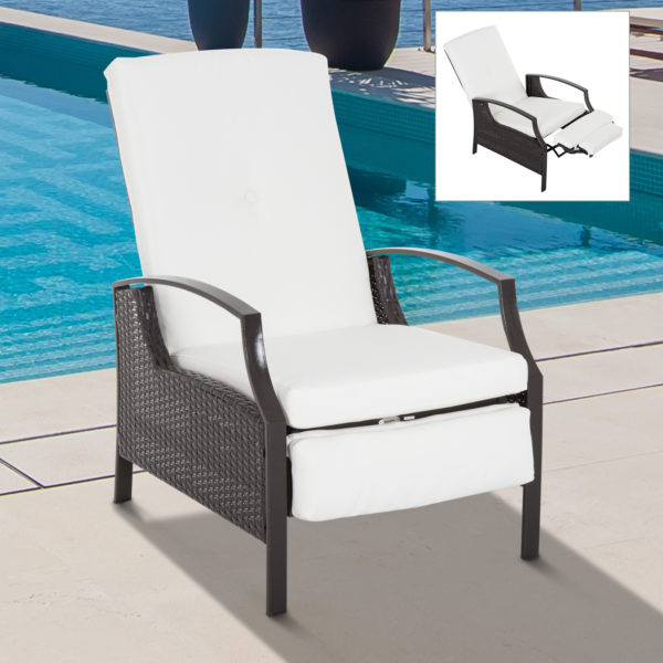 Outsunny Outdoor Rattan Recliner Chair with Cushion
