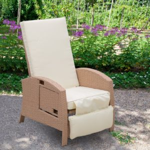 Outsunny Outdoor Rattan Wicker Adjustable Recliner Lounge