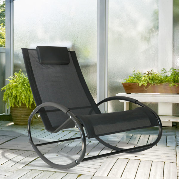 Outsunny Patio Rocking Lounge Chair Orbital Zero