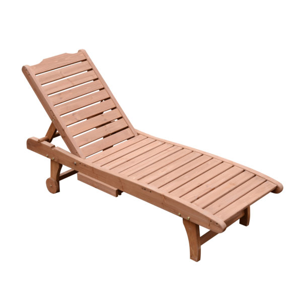 Outsunny Reclining Outdoor Wooden Chaise Lounge Patio