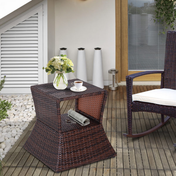 Outsunny Wicker Rattan Outdoor Patio Side Table